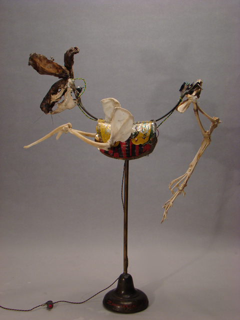 kinetic art rabbit sculpture skeleton robot zwanikken